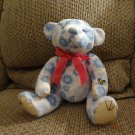Ming Ren Floral Blue White Hot Pink Bow Bumble Bee Teddy Bear Plush 10""