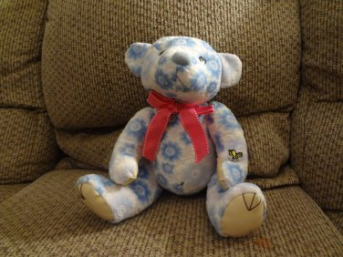 """Ming Ren Floral Blue White Hot Pink Bow Bumble Bee Teddy Bear Plush 10"""""""