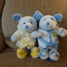 """Carters Just One Year Lot Of 2 Blue Puppy Bathrobe Slippers Baby Cuddles Puppy Dog Plushes 10"""""""