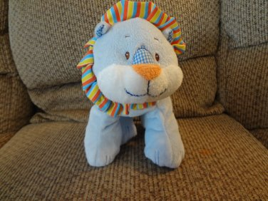 "Baby Ganz Blue Calico Lion #BG2227 Rattles Jingles Striped Lovey Lion Plush 13"""