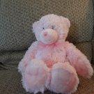 """First Impressions Pink Furry Teddy Bear Black Sewn Eyes Lovey Plush 14"""""""