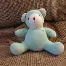 Carters #2219 Aqua Green Pink Ears Jingle Rattle Teddy Bear Lovey Plush 5""