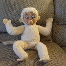 """Antique Knickerbocker Albino Tan Snow Monkey Rubber Face Felt Ears Hands Feet Lovey Plush 18"""""""