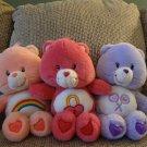 TCFC Care Bears Lot Of 3 Talking Secret Cheer Share Lovey Plush