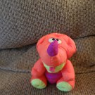 "Vintage 1992 Fisher Price Puffalump Dinosaur 7""Neon Orange Purple Green SittingPlush"