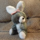 Vintage 1979 Russ Berrie Curious Nutshell Bunny Rabbit Red White Paisley Flower Bow Sitting Plush 9""