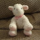 "Koala Baby Pink White Curly Q Rattles Lamb Lovey Plush 6"""