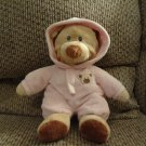 2010 Ty Baby Pluffies Pink PJ Bear Pajamas Large Plush 10""