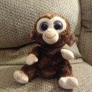 "2010 Ty Medium Beanie Boos Coconut Brown Furry Monkey Lovey Plush 10"""
