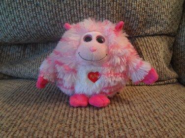 "2012 Ty Monstaz Roxy Pink Hot Pink Stripes Horns Talking Monster Kissing Lovey Plush 5"""