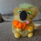 VHTF Vintage Russ Berrie Lovey Tan Black Green Orange Barney Bean Bag Felt Teddy Bear Plush
