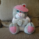 Vintage 1993 Well Made Toy Corp Valentine Be Mine Pink Hearts Ball Cap Gray Teddy Bear Plush