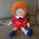 "Vintage 1982 Knickbocker Universal Studios Annie Red Dress Orange Yarn Hair Sandy Lovey Plush 16"""