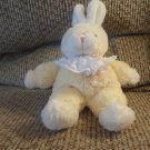 Walmart Cream Yellow Pink Ruffled Furry Baby's First Bunny Plush
