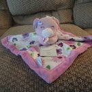 NWT 2012 Carters Baby Plush White Purple Green Flowered Teddy Bear Security Blanket Lovey