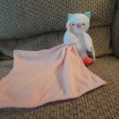 2014 NWT Carters Baby Cuddle Blanket Pink Lovey White Great Horned Owl Plush Security Blanket