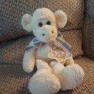 WT Vintage 1999 Commonwealth Hug A Plush Tan Blue Plaid Bow Yellow Cream Monkey Plush