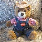 "Vintage 1985 Del Monte Dakin & Company Yumkin Brawny Bear Overalls Gingham Teddy Plush 10"""
