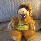 "Vintage ALF Alien Life Form No Problem Tee Shirt Sunglasses Hairy Carmel Brown Plush 12"""