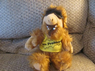 Vintage ALF Alien Life Form No Problem Tee Shirt Sunglasses Hairy Carmel Brown Plush 12""