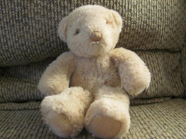 Vintage Gund 1985 Tan Black Button Eyes Teddy Bear Lovey Plush 9""