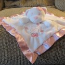 Baby Essentials Heaven Sent Pink Flower White Polar Bear Lovey Security Blanket Plush 12x12""