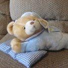 """WT Goffa International Corp Praying Talking Blue Pajama Gingham Pillow Laying Teddy Bear Plush 13"""""""