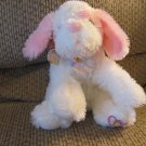 """WT 2007 Applause Necco Sweethearts #69828WM Pink White Puppy Dog Hearts Bow Plush Lovey 9"""""""