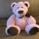 """Mary Meyer Baby Pink Brown Teddy Bear Pink Polka Dot Brown Textured Bow Plush Lovey 12"""""""