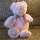"""2008 Animal Adventure Pink Pig Piglet Gingham Bow Hand Foot Pads Plush Lovey 11"""""""