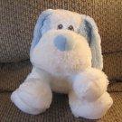 "Aurora Baby Light Blue White Velour Nose Puppy Dog Plush Lovey 7"""