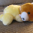 """Vintage Antique Copyright 1936 Gift Co Inc Yellow Pajama Laying Baby Teddy Bear Plush Lovey 9"""""""