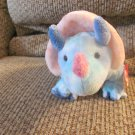 """2005 WT Ty Pluffies Blue and Pink Triceratops Dinosaur Tromps Lovey Plush 13"""""""