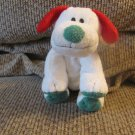 """WT 2007 Ty Pluffies Frost Puppy Dog Lovey Plush Red Green White Tylux Black Button Eyes 11"""""""