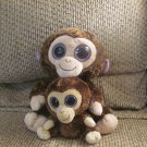 Lot Of 2 2009-10 Ty Beanie Boos Med and Sm Coconut Brown Purple Monkey Lovey Plush