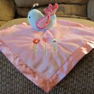 Circo Blue Bird Pink Heart Flower Satin Fleece Lovey Security Blanket 13x13""