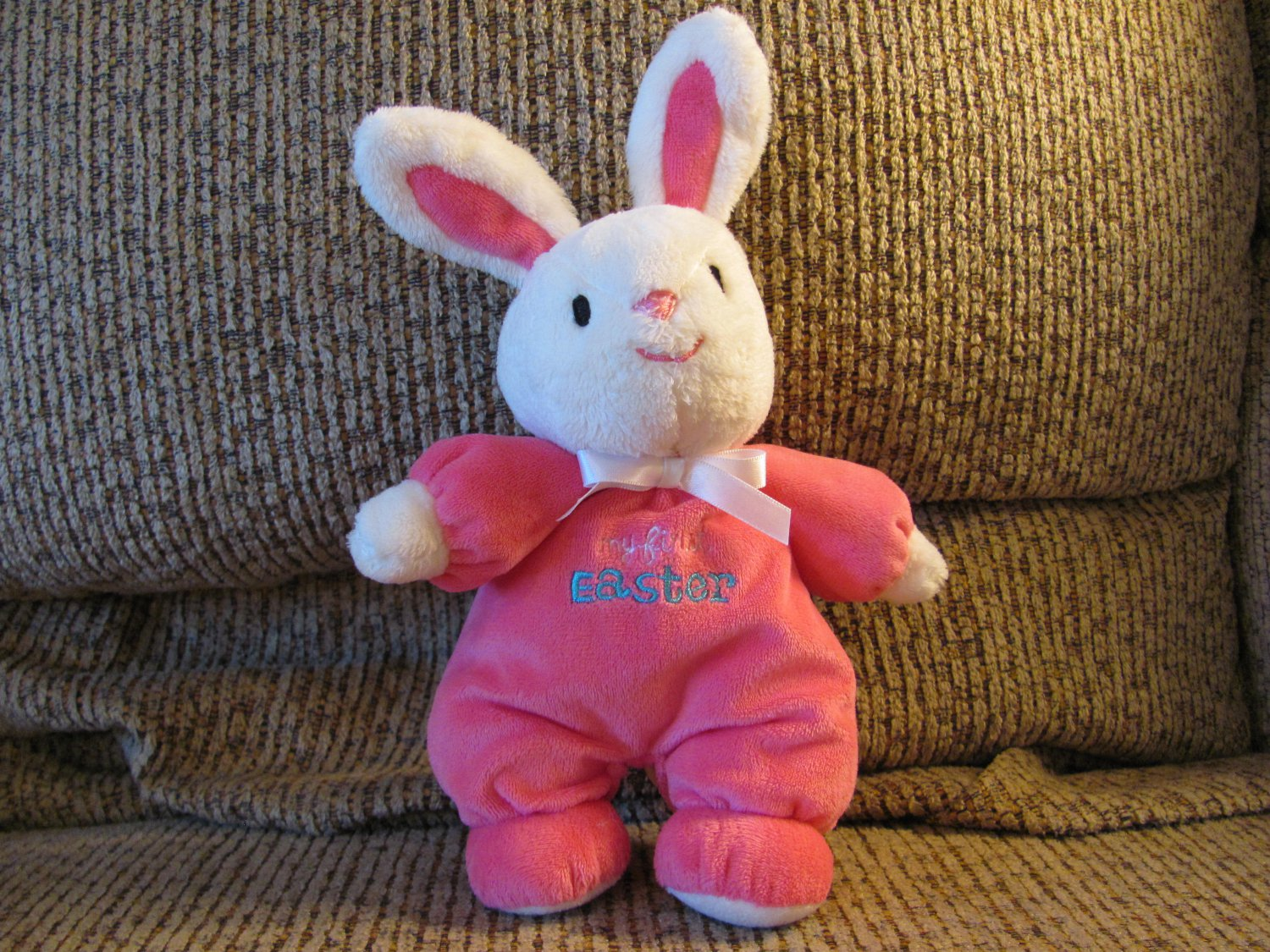 """Carters Just One You My First Easter Pink White Bunny Rabbit Rattles Lovey Plush 10"""""""