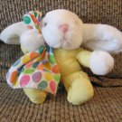 Vintage Commonwealth Yellow Pajama Polka Dot Blanky White Bunny Rabbit Plush 7""