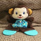 LN Bright Starts Crinkle Teether Blue Brown Monkey Lovey Security Blanket Plush 9""