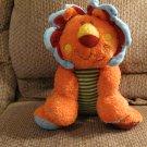 "Mary Meyer Cheery Cheeks Orange Red Corduroy Yellow Green Striped Lion Lovey Plush 16"""