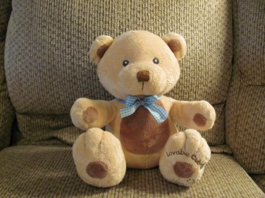 Russ Berrie Baby #36567 Lovable Cub Bumble Bee Gingham Bow Tan Teddy Bear Lovey Plush 10""