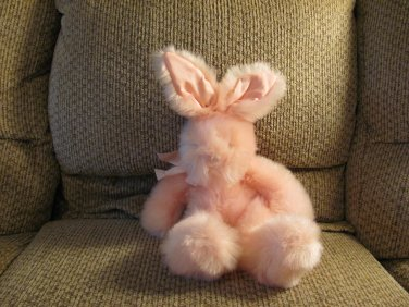 "Russ Berrie #4624 Mennington Pink Furry Satin Bow Bunny Rabbit Lovey Plush 14"""