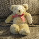 First And Main #1264 Tender Teddies Tan Furry Corduroy Gingham Bow Teddy Bear Lovey Plush 11""