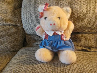 Vintage Personality Plush #R700625 Country Girl Red Gingham Lace Blue Dress Eyelash Pig Plush 13""