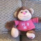 "Walmart Stores Inc Hot Pink Hug Me Heart Brown Tan Monkey Plush Lovey 8"""
