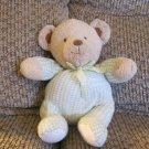 "Carters Just One Year Prestige #34462 Green Gingham Footy Pajama Rattle Teddy Bear Lovey Plush 8"""