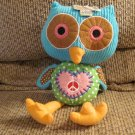 NWT 2012 Owl Love You Forever Patchwork Pink Stitched Red White Peace Sign Heart Owl Lovey Plush 12""