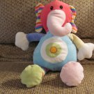2010 Best Made Toys H9282 Patchwork Knitted Pink Blue Yellow Green Rattle Elephant Lovey Plush 13""