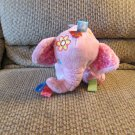Taggies Kids II Tag N Play Pals Pink Rattle Jingles Butterfly Flower Elephant Lovey Plush 6""