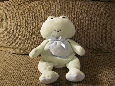 """Carters Just One Year Green Frog Bean Bag Blue Green Lovey Plush 8"""""""